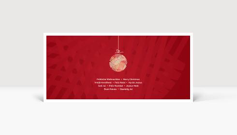 Weihnachtskarte Kleine Weihnachtskugel Rot, Karte DIN Lang quer