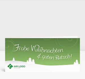Weihnachtskarte Landschaft grün