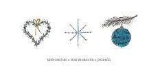 Weihnachtskarte Herz Stern Christbaumkugel Blau