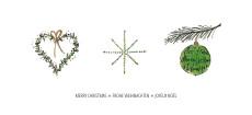 Weihnachtskarte Herz Stern Christbaumkugel Grün