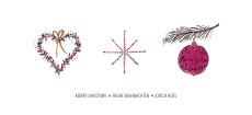Weihnachtskarte Herz Stern Christbaumkugel Pink