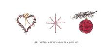 Weihnachtskarte Herz Stern Christbaumkugel Rot