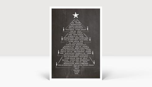 Weihnachtskarte Weihnachtsbaum International auf Kreidetafel, Karte A6 Hoch