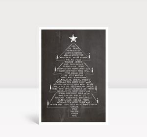 Weihnachtskarte Weihnachtsbaum International Kreidetafel