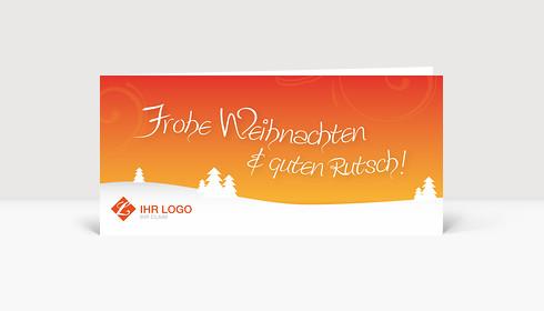 Weihnachtskarte Logo Landschaft mit Bäumen auf orange