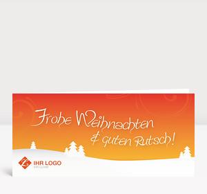 Weihnachtskarte Landschaft orange