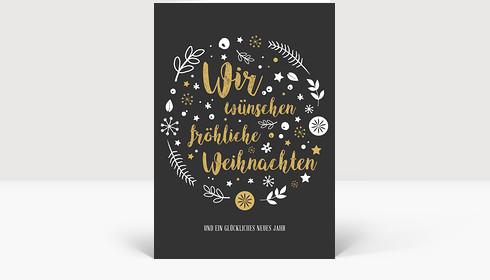 Weihnachtskarte Weihnachtswunschkugel A6, Klappkarte Groß Hoch