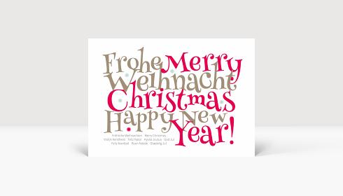 Weihnachtskarte Festliche Typo rot, Karte A6 Quer