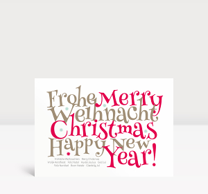 Weihnachtskarte Festliche Typo rot