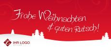 Weihnachtskarte Landschaft rot