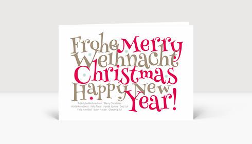 Weihnachtskarte Festliche Typo rot, Klappkarte Groß Lang