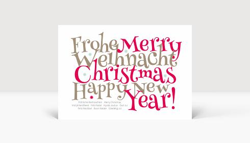 Weihnachtskarte Festliche Typo rot, Karte Groß Quer