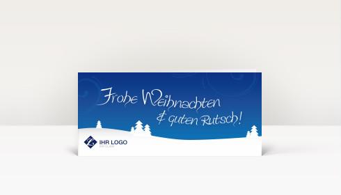weihnachtskarte logo landschaft mit b umen auf blau dk316. Black Bedroom Furniture Sets. Home Design Ideas