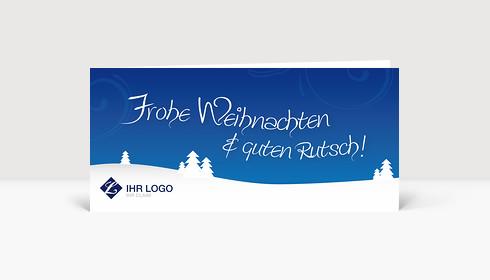 Weihnachtskarte Logo Landschaft mit Bäumen auf blau
