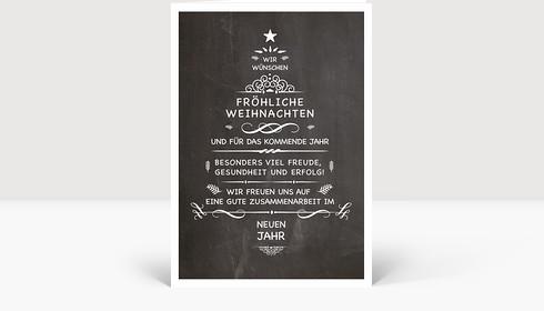 Weihnachtskarte Wunschtanne auf Kreidetafel, Klappkarte Groß Hoch