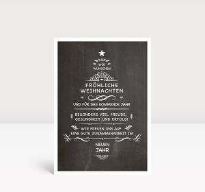 Weihnachtskarte Wunschtanne auf Kreidetafel