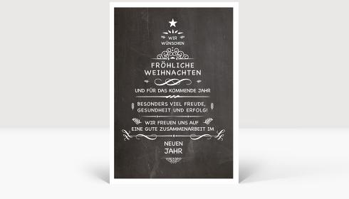 Weihnachtskarte Wunschtanne auf Kreidetafel, Karte Groß Hoch