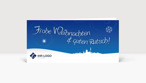 Weihnachtskarte München Logo Landschaft blau