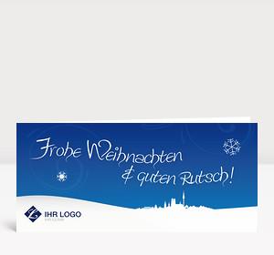 Weihnachtskarte München Landschaft blau