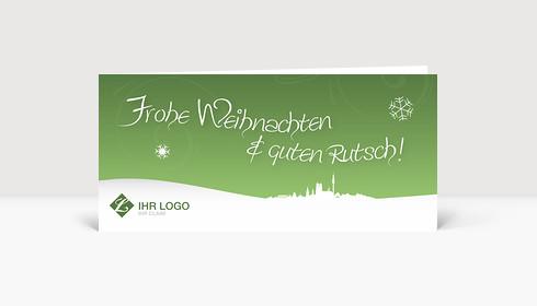 Weihnachtskarte München Logo Landschaft grün