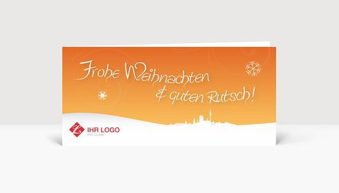 Weihnachtskarte München Logo Landschaft orange
