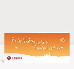 Weihnachtskarte München Landschaft orange