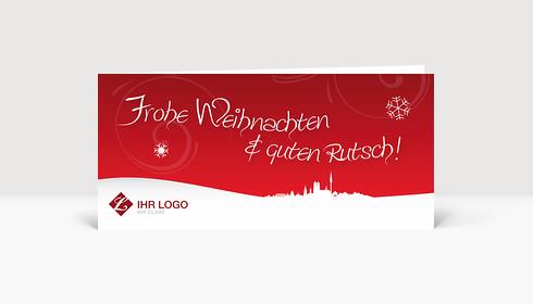 Weihnachtskarte München Logo Landschaft rot