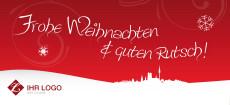 Weihnachtskarte München Landschaft rot