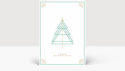 Weihnachtskarte Weihnachtsbaum Outlines Grün, Klappkarte Groß Hoch