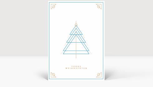 Weihnachtskarte Weihnachtsbaum Outlines Blau, Karte Groß Hoch