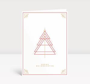 Weihnachtskarte Weihnachtsbaum Outlines Rot