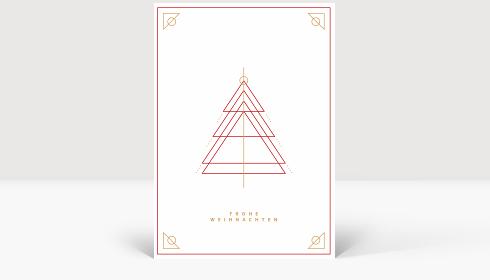 Weihnachtskarte Weihnachtsbaum Outlines Rot, Karte Groß Hoch