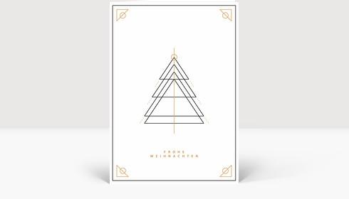 Weihnachtskarte Weihnachtsbaum Outlines Gold-Schwarz, Klappkarte Groß Hoch
