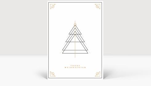 Weihnachtskarte Weihnachtsbaum Outlines Gold-Schwarz, Karte Groß Hoch