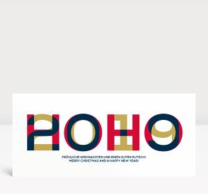 Weihnachtskarte HOHO 2019 Blau-Rot-Gold