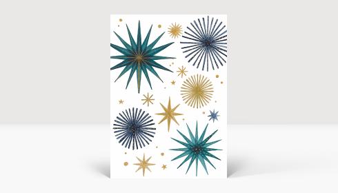 Weihnachtskarte Weihnachtssterne Gold und Petrol, Karte A6 Hoch