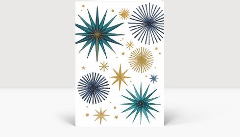 Weihnachtskarte Weihnachtssterne Gold und Petrol, Klappkarte Groß Hoch