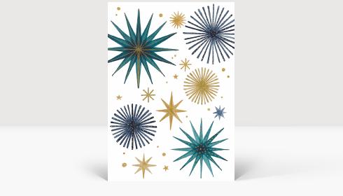 Weihnachtskarte Weihnachtssterne Gold und Petrol, Karte Groß Hoch