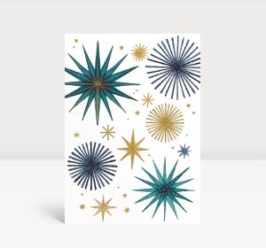 Weihnachtskarte Weihnachtssterne Gold und Petrol