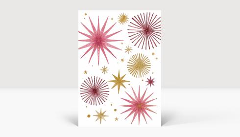 Weihnachtskarte Weihnachtssterne Gold und Rosé, Karte A6 Hoch