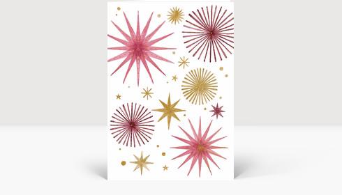 Weihnachtskarte Weihnachtssterne Gold und Rosé, Klappkarte Groß Hoch