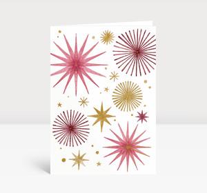 Weihnachtskarte Weihnachtssterne Gold und Rosé