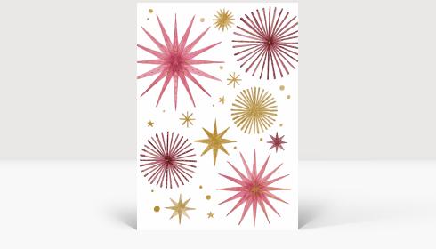 Weihnachtskarte Weihnachtssterne Gold und Rosé, Karte Groß Hoch