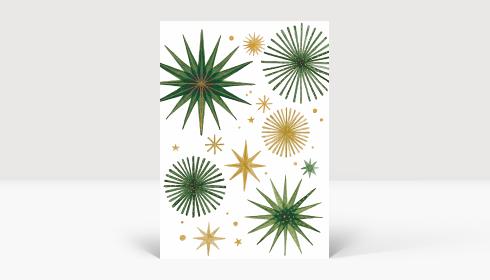 Weihnachtskarte Weihnachtssterne Gold und Grün, Karte A6 Hoch