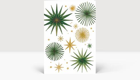 Weihnachtskarte Weihnachtssterne Gold und Grün, Klappkarte Groß Hoch