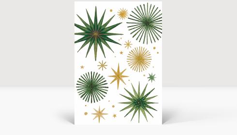 Weihnachtskarte Weihnachtssterne Gold und Grün, Karte Groß Hoch