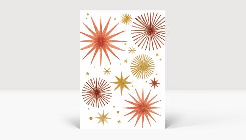Weihnachtskarte Weihnachtssterne Gold und Orange, Karte A6 Hoch