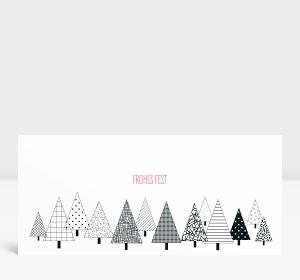 Weihnachtskarte Grafisches Weihnachtswäldchen