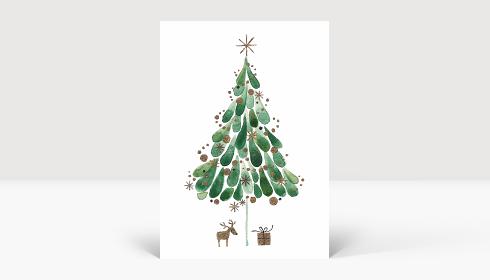 Weihnachtskarte Tuschebaum grün, Karte A6 Hoch