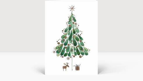 Weihnachtskarte Tuschebaum grün, Klappkarte Groß Hoch
